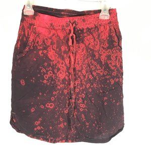 Allen Allen x Custom Red Tie Dyed Red Midi Skirt